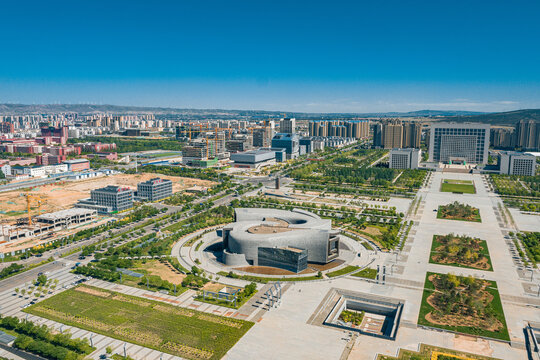 Aerial view of the modern buildings in Datong city, Shanxi, China
