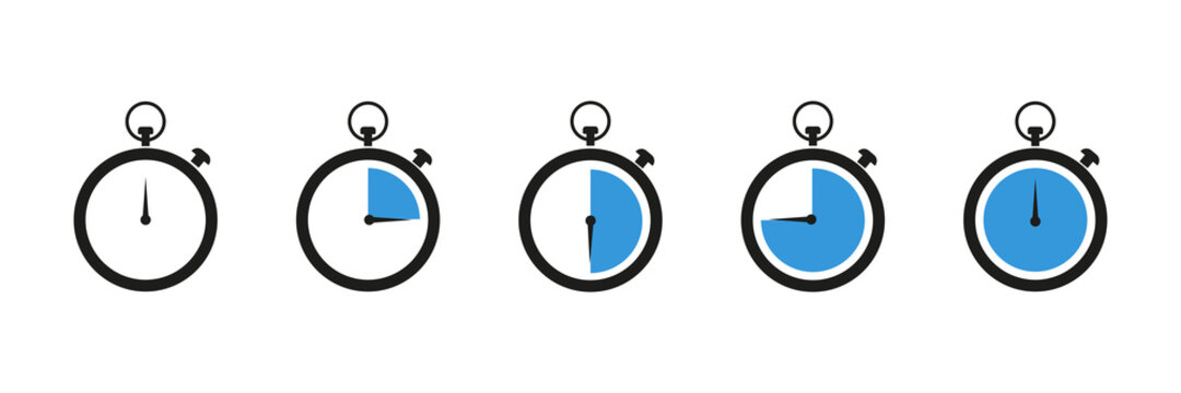 Set of timer . Countdown timer icon set . Stopwatch isolated collection icons with different time. Vector