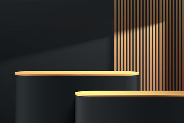 Obraz Abstract 3D black, gold round pedestal podium with golden vertical stripes and shadow. Luxury dark minimal wall scene. Modern vector rendering geometric platform for product display presentation. - fototapety do salonu