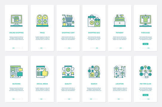 Online shopping technology promotion vector illustration. UX, UI onboarding mobile app page screen set with line easy payment, blogging, social media offer advertising, search location and audience