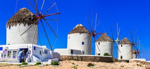 Traditional Greek windmills. Mykonos island, Cyclades. Greece travel and landmarks