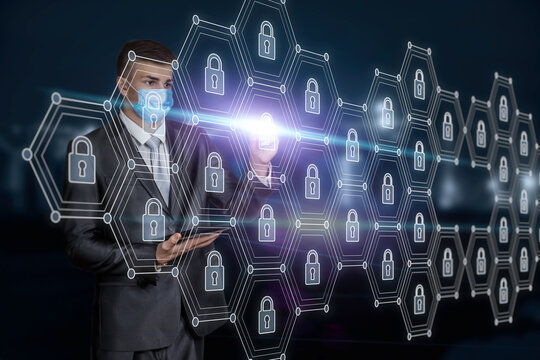 Businessman in mask work with security network communication on blurred background.