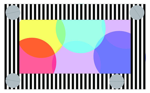 A poster inspired by the Palais Royal garden in Paris. Consists of a striped frame of colored and metallic balls. For posters, banners, single motive where you can add text.