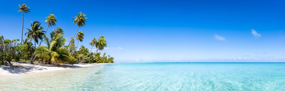 Tropical beach panorama with turquoise sea and blue sky