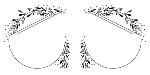 Fototapeta Okrągłe ramki z wzorem roślinnym w prostym minimalistycznym stylu. Eleganckie szablony z listkami - zaproszenia ślubne, życzenia, planer, tło dla social media stories. obraz