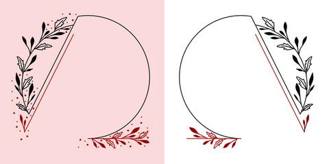 Obraz Okrągłe ramki z wzorem roślinnym w prostym minimalistycznym stylu. Szablony z listkami i czerwonym akcentem - zaproszenia ślubne, życzenia, walentynka, planer, tło dla social media stories. - fototapety do salonu