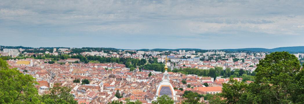 Panorama vieille ville de Besançon depuis la citadelle