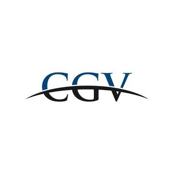 CGV initial overlapping movement swoosh horizon, logo design inspiration company business