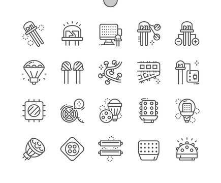 Light-emitting diode. Led light. Led illuminations. Anode and cathode. Led lamp. Pixel Perfect Vector Thin Line Icons. Simple Minimal Pictogram