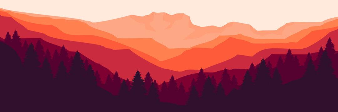 sunset flat design mountain forest for web banner, blog banner, wallpaper, background template, adventure design, tourism poster design, backdrop design