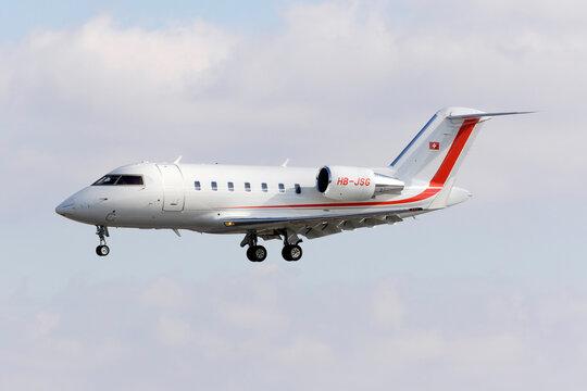 Luqa, Malta January 29, 2016: Bosch/Scintilla Bombardier Challenger 605 (CL-600-2B16) [HB-JSG] landing runway 31.