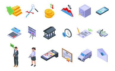 Obraz Bank reserves icons set isometric vector. Check gold money. Moneybox accounting - fototapety do salonu