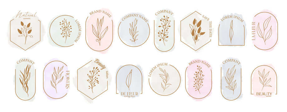 Logo watercolor background banner for wedding,luxury logo,banner,badge,printing,product,package.