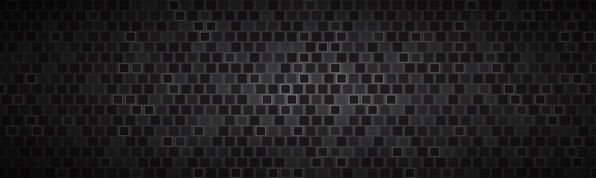 Dark widescreen banner with squares with different transparencies. Modern black geometric header. Carbon texture. Simple vector illustration background