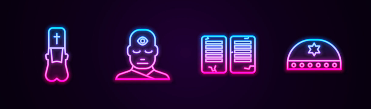 Set line Priest, Man with third eye, The commandments and Jewish kippah star of david. Glowing neon icon. Vector