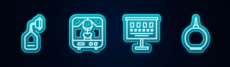 Set line Medical oxygen mask, X-ray machine, Eye test chart and Enema. Glowing neon icon. Vector