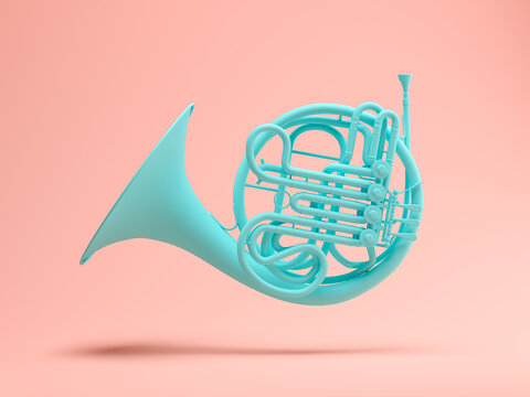 Blue French Horn on pink background 3d rendering