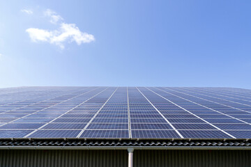 Obraz roof-mounted solar collectors on large roof - fototapety do salonu