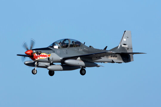 Luqa, Malta February 21, 2016: Indonesian Air Force Embraer EMB-314 Super Tucano landing in Malta on a technical stop, on ferry flight all the way from Brazil to Indonesia.