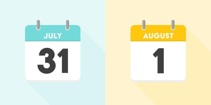 7月の終わりと8月の始まりのカレンダー:7月31日と8月1日の日めくりカレンダーのセット - 夏・月変わりのイメージイラスト