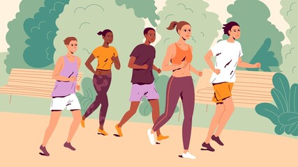 Fototapeta People running outdoors. Group of young men and women jogging obraz