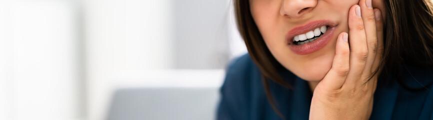 Fototapeta Sore Tooth And Decay. Woman Dental Health. Teeth obraz