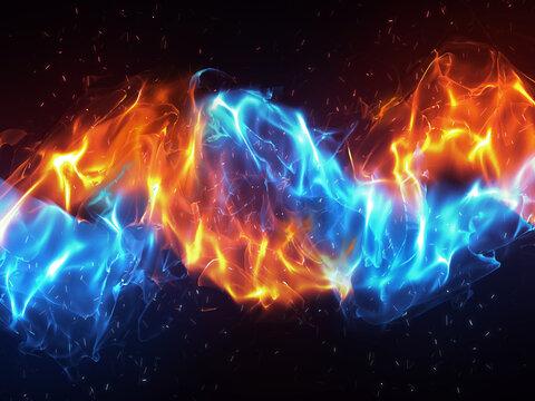 絡み合う青と赤の炎背景