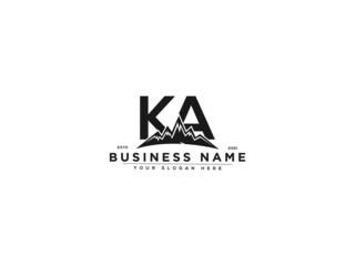 Obraz Letter KA Logo, line art ka mountain logo icon vector for river forest hill landscape typography image design - fototapety do salonu