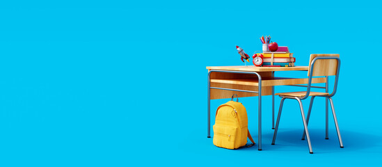 Fototapeta School desk with school accessory and yellow backpack on blue background 3D Rendering, 3D Illustration obraz