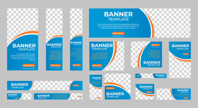 Set of Corporate Business web banners with standard size and place for images. Vertical, horizontal and square template. Vector illustration