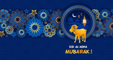 Obraz Eid Mubarak celebration Greeting card. Festive design for Muslim festival Eid Al Adha with goat, silhouette of mosque, lanterns and crescent on night blue background. Vector illustration. - fototapety do salonu
