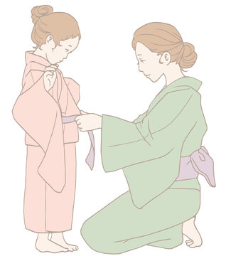 子どもの浴衣の着付け(パステルカラー)