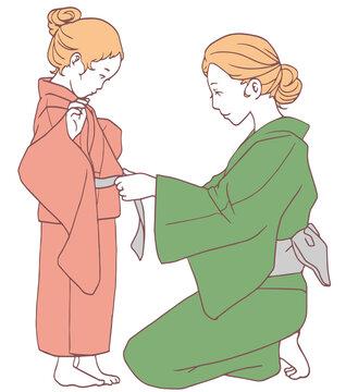 子どもの浴衣の着付け(シンプルカラー)