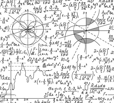 Scientific vector seamless pattern with handwritten technical formulas, physics and mathematical equations and figures, calculations, plots