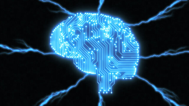 Glowing blue digital brain with electric lightning bolt sparks connecting to computer circuits