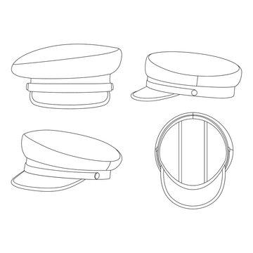Template breton hat vector illustration flat sketch design outline headwear
