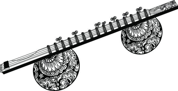 stick zither with gourd resonators (Rudra vina or Bin) Northern India traditional music instrument black and white clip art. Indian music instrument stick zither black and white artistic drawing.