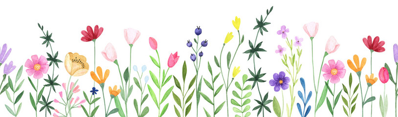 Obraz Watercolor floral seamless stripe. Hand drawn abstract wildflowers - fototapety do salonu