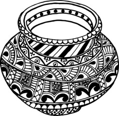 Fototapeta Indian artistic style traditional vintage pots (Matka) multicolour vector illustration with floral pattern design illustration. Indian wedding clip art Kalash with floral pattern design. obraz