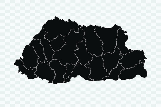 Bhutan Map map black Color on Backgound Png