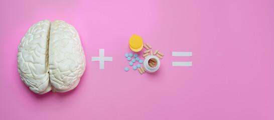 Fototapeta Brain plus drugs addiction or headache concept obraz