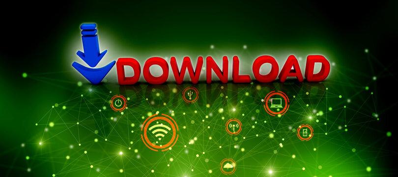 3d illustration  downloading arrow sign
