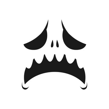 Sad monster face vector icon, scary or evil emoji with unhappy creepy eyes and yelling open mouth. Ghost, jack lantern Halloween pumpkin emotion, isolated monochrome character face