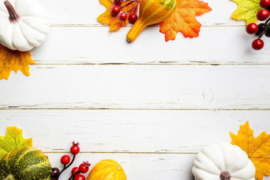 Autumn side border of white pumpkins and autumn leaves over a rustic white wood background, top view