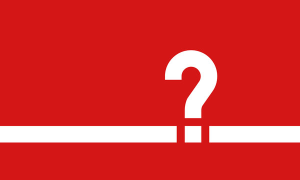 white question mark on red background, vector illustration