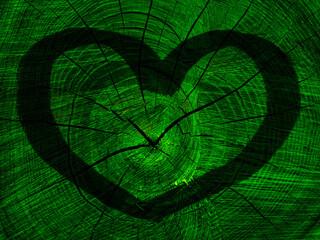 Obraz Serce na zielonym tle - fototapety do salonu