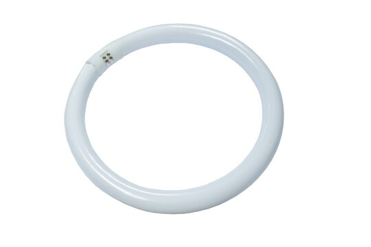 circle fluorescent electric lamp arranging on white background