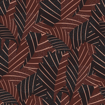 Lino print style earthy stylised vector leaves seamless pattern background. Texture backdrop with overlapping foliage and structural linear leaf veins. Textured botanical chestnut brown color repeat