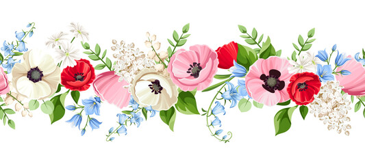 Fototapeta Vector horizontal seamless border with red, pink, blue and white poppy, bluebell, lilac and lily-of-the-valley flowers on a white background. obraz