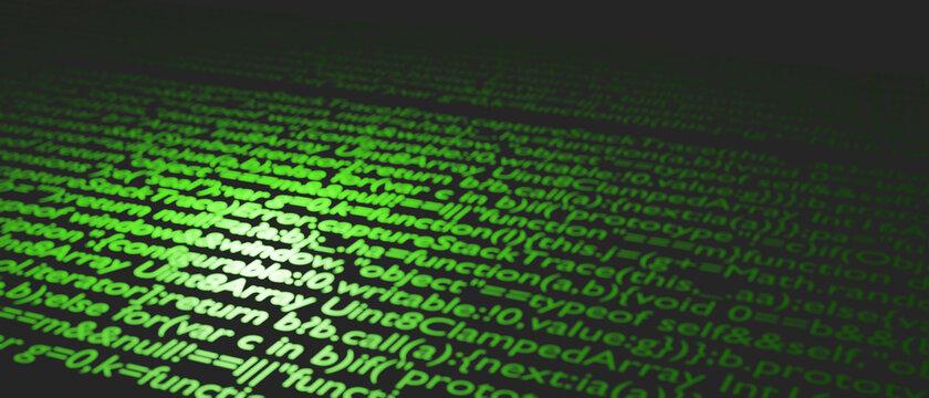 ビッグデータ 最先端技術のイメージ画像 プログラミングの未来的なサイバー背景 3Dレンダリング 情報技術とプログラミング言語の羅列